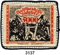P A P I E R G E L D   -   N O T G E L D,Notgeld der besonderen Art Bielefelder Stoffgeld5000 Mark 15.2.1923.  Mit schwarzer Klöppelborte.  Grab. 68 c.