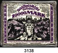 P A P I E R G E L D   -   N O T G E L D,Notgeld der besonderen Art Bielefelder Stoffgeld10.000 Mark 15.2.1923.  Mit Prachtborte.  Grab. 70 b.
