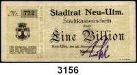 P A P I E R G E L D   -   N O T G E L D,Bayern Neu-Ulm5 Mark 14.10.1918 bis 1 Billion Mark 15.11.1923.  U.a. mit Keller 3898.h.  LOT 14 Scheine.