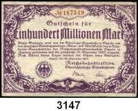 P A P I E R G E L D   -   N O T G E L D,Reichsbahn Oppeln1 Million Mark 16.8.1923.  500 Millionen Mark 27.9.1923.  20 und 100 Millionen Mark 28.9.1923.  Müller/Geiger/Grab.  019.4 a, 5 b, 6 c, 8.  LOT 4 Scheine.
