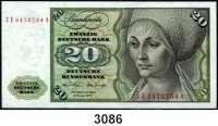 P A P I E R G E L D,BUNDESREPUBLIK DEUTSCHLAND 20 Deutsche Mark 2.1.1970.  ZE...A.  Austauschnote.  Ros. BRD-15. d.
