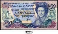 P A P I E R G E L D,AUSLÄNDISCHES  PAPIERGELD Falkland-Inseln50 Pfund 1.7.1990;  5 Pfund 14.6.2005;  10 und 20 Pfund 1.1.2011.  Pick 16 a, 17 a, 18, 19.  LOT 4 Scheine.