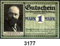 P A P I E R G E L D   -   N O T G E L D,Ostpreussen HeydekrugGemeinde.  50 Pfennig mit KN;  25, 75 Pfennig und 1 Mark ohne KN.  28.5.1921.  G/M 607.1 a, b.  LOT 4 Scheine.