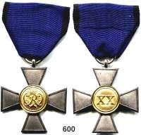 Orden, Ehrenzeichen, Militaria, Zeitgeschichte,Deutschland PreussenLandwehrdienstauszeichnungskreuz für 20 Jahre.  Silber.  Im alten passendem Etui.