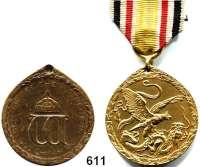 Orden, Ehrenzeichen, Militaria, Zeitgeschichte,Deutschland Deutsches ReichChinamedaille für Kämpfer, Bronze.  LOT 2 Stück (1x Spangenstück und 1x verliehen).