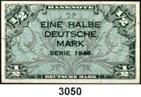 P A P I E R G E L D,BUNDESREPUBLIK DEUTSCHLAND 1/2 Deutsche Mark 1948.  Ros. WBZ-1.
