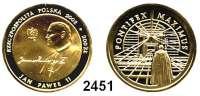 AUSLÄNDISCHE MÜNZEN,Polen Republik seit 1990200 Zlotych 2002 (13,95 g fein).  Papst Johannes Paul II.  Schön 450.  Y. 438.  Fb. 188.  Mit Zertifikat.  GOLD
