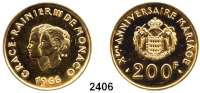 AUSLÄNDISCHE MÜNZEN,Monaco Rainier 1949 - 2005200 Francs 1966.  (29,44 g fein).  10. Hochzeitstag von Fürst Rainier III. und Gracia Patricia .  Schön 29.  KM 148.  Fb. 32.  GOLD