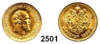 AUSLÄNDISCHE MÜNZEN,Russland Alexander III. 1881 - 18945 Rubel 1890, St. Petersburg.  (5,8g fein).  Bitkin 35.  Schön 134.  Y. 42.  Fb. 168.  GOLD