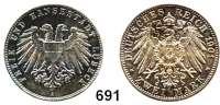 R E I C H S M Ü N Z E N,Lübeck, Freie und Hansestadt 2 Mark 1901.