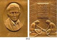 M E D A I L L E N,Medailleur Heinrich Kautsch (1859 - 1943) 1906.  Bronzeplakette.  Heinrich Heine.  Auf den 50. Todestag. 52 x 72 mm.  110 g.