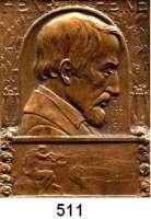 M E D A I L L E N,Medailleur Heinrich Kautsch (1859 - 1943) 1906.  Einseitige Bronzeplakette.  Heinrich Heine.  Auf den 50. Todestag. 38 x 50 mm.  46,5 g.