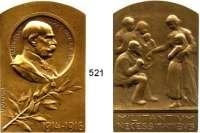 M E D A I L L E N,Medailleur Heinrich Kautsch (1859 - 1943) 1916.  Bronzeplakette oben abgerundet.  Kaiser Franz Josef I.  Auf die Mildtätikeit für die unter den Kriegswirren leidende Bevölkerung.  38 x 60 mm.  71,6 g.