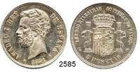 AUSLÄNDISCHE MÜNZEN,Spanien Amadeo I. 1871 - 18735 Peseten 1871 SD-M.  Schön 151.  KM 666.