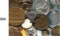 M E D A I L L E N,L O T S     L O T S     L O T S LOT von 15 meist ausländischen Medaillen und Marken.  19. /20. Jahrhundert.  21 bis 40 mm Ø  Beigegeben eine kleine Messing Petschaft.  Siegelplatte : 25 x 21 mm.  34 mm hoch.