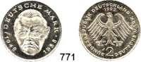 B U N D E S R E P U B L I K, 2 Mark 1992 J.  Erhard.  Fehlprägung - Geprägt auf dünnem Schrötling (magnetisch).  3,81 g statt 7 g.
