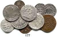 Deutsche Münzen und Medaillen,Brandenburg - Preußen LOTS     LOTS     LOTSZwei verschiedene Groschen (um 1500); II Mariengroschen 1655; 1/24 Taler 1654; 6 Gröscher 1684 HS und 1/12 Taler 1691 LCS; 1 Pfennig 1752 A; 3 Pfennig 1763 D; 3 Gute Pfennig 1765 A und 1/24 Taler 1752 A.  LOT 10 Stück.