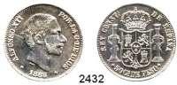 AUSLÄNDISCHE MÜNZEN,Philippinen Alfons XII. von Spanien 1874 - 188550 Centimos 1885.  Schön 22.  KM 150.