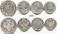 AUSLÄNDISCHE MÜNZEN,Polen LOTS   LOTS   LOTS50 Groszy/25 Kopeken 1847; 2 Zlote/30 Kopeken 1835; 5 Zlotych/3/4 Rubel 1840 und 2 Zlote 1824.  LOT 4 Stück.