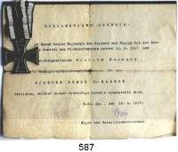 Orden, Ehrenzeichen, Militaria, Zeitgeschichte,Deutschland PreussenEisernes Kreuz 1914, 2. Klasse.  Mit angenähtem Originalband.  Mit Verleihungsurkunde von 1917. (Für einen Armierungssoldaten).