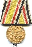 Orden, Ehrenzeichen, Militaria, Zeitgeschichte,Deutschland Deutsches ReichChina Denkmünze, Bronze (für Kämpfer), an alter Originaltragespange aus Blech.