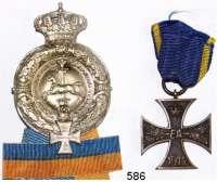 Orden, Ehrenzeichen, Militaria, Zeitgeschichte,Deutschland BraunschweigKriegsverdienstkreuz II. Klasse 1914 und Abzeichen des Braunschweiger Kriegervereins.  LOT 2 Stück.