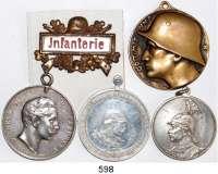 Orden, Ehrenzeichen, Militaria, Zeitgeschichte,Deutschland L O T S      L O T S      L O T SLOT von 5 Stück.  Darunter silberne Schießpreismedaille Preußen (zu 7 1/2 Mark)