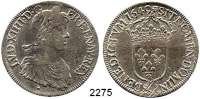 AUSLÄNDISCHE MÜNZEN,Frankreich Ludwig XIV. 1643 - 1715Ecu a la meche longue 1649 &, Aix-en-Provence.  27,04 g.  Duplessy 1469.  KM 155.18.  Dav.3799.