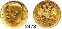 AUSLÄNDISCHE MÜNZEN,Russland Nikolaus II. 1894 - 191715 Rubel 1897, Sankt Petersburg.  (11,61 g fein).  Drei Buchstaben unter dem Halsabschnitt.  Bitkin 2.  Schön 17.  Y 65.  Fb. 177.  GOLD.