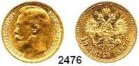 AUSLÄNDISCHE MÜNZEN,Russland Nikolaus II. 1894 - 191715 Rubel 1897, Sankt Petersburg.  (11,61 g fein).  Zwei Buchstaben unter dem Halsabschnitt.  Bitkin 1.  Schön 17.  Y 65.  Fb. 177.  GOLD.