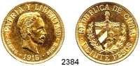 AUSLÄNDISCHE MÜNZEN,Kuba 20 Pesos 1915 (30,09g fein).  Schön 15.  KM 21.  Fb. 1.  GOLD