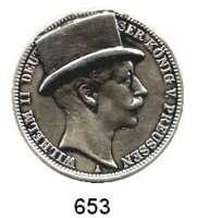 R E I C H S M Ü N Z E N,Preussen, Königreich Wilhelm II. 1888 - 19183 Mark 1910.  Mit aufgelötetem Zylinder