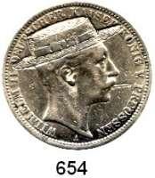 R E I C H S M Ü N Z E N,Preussen, Königreich Wilhelm II. 1888 - 19183 Mark 1910  Kopf des Kaisers mit eingravierter Zigarette und Hut.