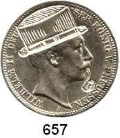 R E I C H S M Ü N Z E N,Preussen, Königreich Wilhelm II. 1888 - 19183 Mark 1912  Kopf des Kaisers mit eingraviertem Zylinder und Pfeife.