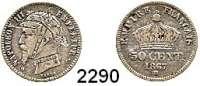 AUSLÄNDISCHE MÜNZEN,Frankreich Napoleon III. 1852 - 187050 Centimes 1867 BB.  Mit Gravur:  Pickelhaube und Uniformkragen.