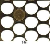 B U N D E S R E P U B L I K, Ausgestanztes Rondenblech für 5 Pfennig Münzen.  73 x 62 mm.
