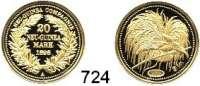 Besetzte Gebiete  -  Kolonien  -  Danzig,Deutsch - Neuguinea Neuprägung (Punze 2005) des 20 Markstückes von 1895 A.  GOLD  Vgl. Jaeger 709.  20 mm.  3,07 Gramm.