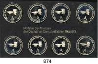 Deutsche Demokratische Republik   PP-Patina !!!!!,K U R S S Ä T Z E Schadowfries-Satz 1983  Mzz. A.  8 Kupfer-Nickel-Medaillen.  Im Originalrahmen (schwarz)