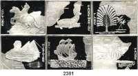 AUSLÄNDISCHE MÜNZEN,Kongo, Demokratische Republik 1000 Francs 1997 (Mosaikbarrenmünzen, 31,1g).  Landkarte von Afrika.  Schön 37 bis 42.  KM 41, 58 bis 62.  SATZ 6 Stück.  Im Plexiglasrahmen.
