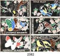 AUSLÄNDISCHE MÜNZEN,Korea/Nord 250 Won 1998 (Mosaikbarrenmünzen, 1/2 Unze).  Asiatische Vögel und Schmetterlinge.  Schön 248 bis 253.  KM 601 bis 606.  SATZ 6 Stück.  Im Originaletui.