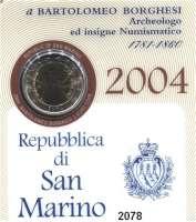 AUSLÄNDISCHE MÜNZEN,E U R O  -  P R Ä G U N G E N San Marino2 EURO 2004.  Bartolomeo Borghesi.  Schön 453.  KM 467.