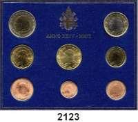 AUSLÄNDISCHE MÜNZEN,E U R O  -  P R Ä G U N G E N VatikanKurssatz 2002 (8 Werte).  Cent bis 2 EURO 2002.