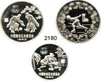 AUSLÄNDISCHE MÜNZEN,China Volksrepublik seit 194920 Yuan und 30 Yuan(2) 1980.  Olympische Spiele.  Schön 19, 21, 27.  KM 34, 36, 26.  LOT 3 Stück.  Im Originaletui.