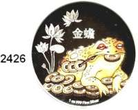 AUSLÄNDISCHE MÜNZEN,Niue 2 Dollars 2016 (Silberunze, Farbmünze).  Feng Shui - Geldkröte.  Im Originaletui mit Zertifikat.
