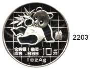 AUSLÄNDISCHE MÜNZEN,China Volksrepublik seit 194910 Yuan 1989 (Silberunze).  Panda mit Bambuszweig.  Schön 215.  KM A 221.  In Kapsel.