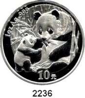 AUSLÄNDISCHE MÜNZEN,China Volksrepublik seit 194910 Yuan 2005 (Silberunze).  Sitzender Panda mit stehendem Jungtier.  Schön 1467.  KM 1589.  In Kapsel.