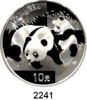 AUSLÄNDISCHE MÜNZEN,China Volksrepublik seit 194910 Yuan 2008 (Silberunze).  Panda mit Jungtier.  Schön 1669.  KM 1814.  In Kapsel.