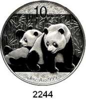 AUSLÄNDISCHE MÜNZEN,China Volksrepublik seit 194910 Yuan 2010 (Silberunze).  Panda mit Jungtier.  Schön 1772.  KM 1931.  In Kapsel.