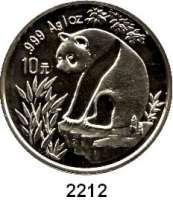 AUSLÄNDISCHE MÜNZEN,China Volksrepublik seit 194910 Yuan 1993 (Silberunze).  Große Jahreszahl.  Panda auf Felsen.  Schön 522.  KM 485.  In Kapsel.