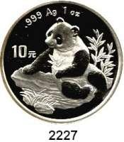 AUSLÄNDISCHE MÜNZEN,China Volksrepublik seit 194910 Yuan 1998 (Silberunze). Schmale Jahreszahl mit Serifen.  Panda am Gewässer. Schön 1091.  KM 1126.  In Kapsel.